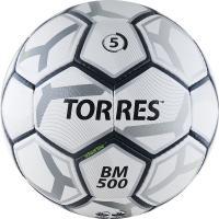 "Мяч футб. ""TORRES BM 500"" арт.F30635, р.5, 32 пан. PU, 4 подкл. слоя, руч. сшивка, бело-серо-серебр"