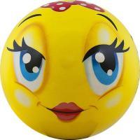 "Мяч детский  ""Funny Faces"", арт.DS-PP 203,  диаметр 12 см, пластизоль, желтый"
