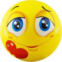 "Мяч детский  ""Funny Faces"", арт.DS-PP 207,  диаметр 12 см, пластизоль, желтый"