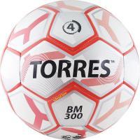 "Мяч футб. ""TORRES BM 300"" арт.F30744, р.4, 28 пан.,гл.TPU,2 подкл. слой, маш. сш., бело-серебр-крас."