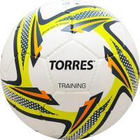 """Мяч футб. """"TORRES Training"""" арт.F31855, р.5, 32 панели. PU, 4 подкл. слоя, руч. сшивка, бело-зел-сер"""