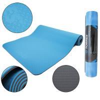 """Коврик для йоги """"TORRES Comfort 6"""" арт.YL10086, TPE 6 мм, нескользящее покрытие, сине-серый"""