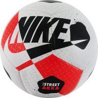 """Мяч футзал """"NIKE Street Akka"""" арт.SC3975-101, р.4, 12пан, ПУ, резина, маш.сш, бело-красно-черный"""