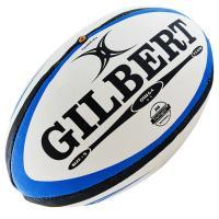 """Мяч для регби """"GILBERT Omega"""", арт.41027005, р. 5, резина, ручная сшивка, бело-сине-черный"""