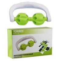 """Массажер роликовый """"TORRES"""", арт.BL1007, в форме скобы, 2 массажных элемента из пласт., зелено-белый"""