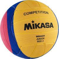 """Мяч для водного поло """"MIKASA W6608W"""" резина, Junior, р.2,вес 300-320 г, дл. окр.58-60см,желт-син-роз"""