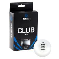 Мяч для наст. тенниса TORRES Club 2*, арт. TT0014, диам. 40+мм, упак. 6 шт, белый