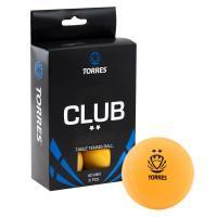 Мяч для наст. тенниса TORRES Club 2*,арт. TT0013, диам. 40+ мм, упак. 6 шт, оранжевый