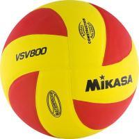 """Мяч вол. """"MIKASA VSV800"""", р.5, синт.пена ТПЕ, клеен,8 пан,бут.кам, красно-желтый"""