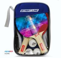 Набор START LINE: 2 Ракетки Home 2 звезды, 3 Мяча, Сетка с креплением, упаковано в сумку на молнии с ручкой, фото
