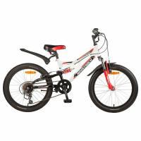 """Велосипед 20"""" Novatrack Двухподвесный, SHARK, 6-ск. темно-синий, зеленый"""